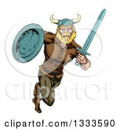Clipart Of A Muscular Blond Viking Warrior Sprinting With A Sword And Shield Royalty Free Vector Illustration by AtStockIllustration