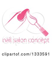 White And Pink Nail Polish Brush And Finger Above Sample Text