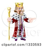 Clipart Of A Happy Brunette Caucasian King Holding A Staff And Pointing To The Right Royalty Free Vector Illustration by AtStockIllustration