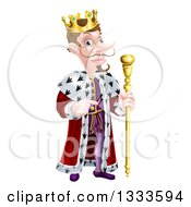 Clipart Of A Happy Brunette Caucasian King With A Curling Mustache Holding A Staff And Pointing To The Right Royalty Free Vector Illustration
