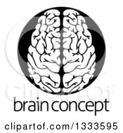 Clipart Of A White Human Brain In A Black Circle Over Sample Text Royalty Free Vector Illustration