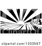 Clipart Of A Cottage Farm House On A Hill With The Sunrise And Fields In Black And White Royalty Free Vector Illustration