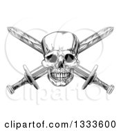 Clipart Of A Black And White Engraved Pirate Skull And Cross Swords 2 Royalty Free Vector Illustration by AtStockIllustration