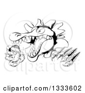 Clipart Of A Black And White Cartoon Vicious Alligator Or Crocodile Monster Slashing Through A Wall Royalty Free Vector Illustration by AtStockIllustration