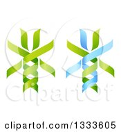 Clipart Of 3d Green And Blue DNA Double Helix Trees 2 Royalty Free Vector Illustration
