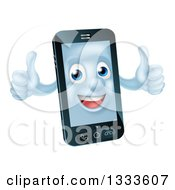 Clipart Of A Cartoon 3d Happy Cell Phone Character Holding Two Thumbs Up Royalty Free Vector Illustration