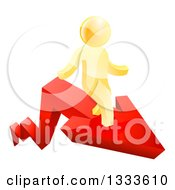 Clipart Of A 3d Gold Man On Top Of A Red Growth Arrow Royalty Free Vector Illustration