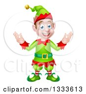 Clipart Of A Welcoming Young Brunette White Male Christmas Elf 2 Royalty Free Vector Illustration