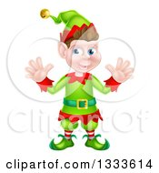 Clipart Of A Welcoming Young Brunette White Male Christmas Elf Waving With Both Hands Royalty Free Vector Illustration