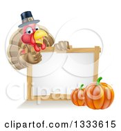 Clipart Of A Happy Thanksgiving Pilgrim Turkey Bird Giving A Thumb Up Over A Blank White Board Sign With Pumpkins Royalty Free Vector Illustration