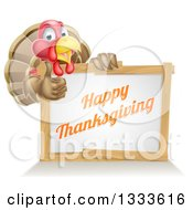 Clipart Of A Happy Thanksgiving Turkey Bird Giving A Thumb Up Over A Greeting Board Sign Royalty Free Vector Illustration