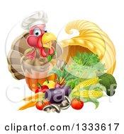 Chef Turkey Bird Giving A Thumb Up Over A Pumpkin And Harvest Cornucopia