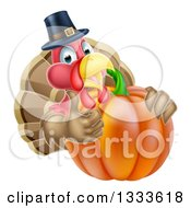 Clipart Of A Pleased Thanksgiving Turkey Bird Wearing A Pilgrim Hat And Giving A Thumb Up Over A Pumpkin 2 Royalty Free Vector Illustration by AtStockIllustration