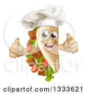 Clipart Of A Cartoon Chef Souvlaki Kebab Sandwich Mascot Giving Two Thumbs Up Royalty Free Vector Illustration