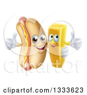 Clipart Of A Cartoon Happy Hot Dog Mascot And French Fry Character Giving Thumbs Up Royalty Free Vector Illustration