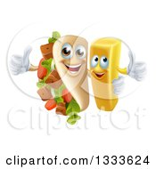 Clipart Of A Cartoon Souvlaki Kebab Sandwich Mascot And French Fry Character Giving Thumbs Up Royalty Free Vector Illustration