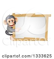 Cartoon Black And Tan Happy Baby Chimpanzee Monkey Pointing Around A Blank White Sign Framed In Wood