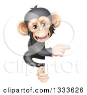 Cartoon Black And Tan Happy Baby Chimpanzee Monkey Pointing Around A Sign