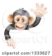 Cartoon Black And Tan Happy Baby Chimpanzee Monkey Waving And Pointing Down Over A Sign