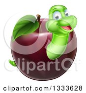 Clipart Of A Happy Green Worm Emerging From A Red Apple Royalty Free Vector Illustration