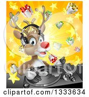 Clipart Of A Happy Christmas Rudolph Reindeer Dj Wearing Headphones Over A Turntable And Star Burst Gift Explosion Royalty Free Vector Illustration