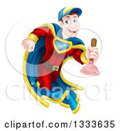 Clipart Of A Cartoon Middle Aged Brunette White Male Plumber Super Hero Running With A Plunger Royalty Free Vector Illustration