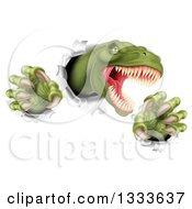 Clipart Of A 3d Roaring Green Tyrannosaurus Rex Dinosaur Slashing Through Metal 2 Royalty Free Vector Illustration