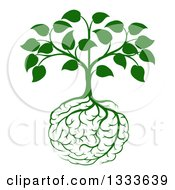 Clipart Of A Leafy Green Heart Shaped Tree With Brain Roots Royalty Free Vector Illustration