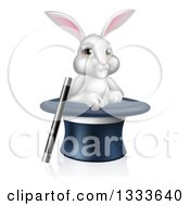 Clipart Of A Cartoon Magic Trick Bunny Rabbit In A Hat With A Wand Royalty Free Vector Illustration by AtStockIllustration