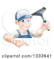 Clipart Of A Happy Young Brunette Caucasian Window Cleaner Man Holding A Squeegee And Pointing Down Over A Sign Royalty Free Vector Illustration