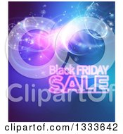 Clipart Of A Black Friday Sale Background With Lights Over Blue Royalty Free Vector Illustration by AtStockIllustration