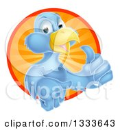 Clipart Of A Pleased Blue Bird Character Giving A Thumb Up And Emerging From A Circle Of Sunshine 2 Royalty Free Vector Illustration by AtStockIllustration