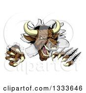 Clipart Of A Mad Aggressive Clawed Bull Monster Slashing Through A Wall 2 Royalty Free Vector Illustration