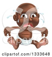 Clipart Of A Crying Black Baby Boy Sitting In A Diaper Royalty Free Vector Illustration