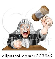 Cartoon Fierce Angry White Male Judge Spitting Holding A Gavel And Slamming His Fist Down