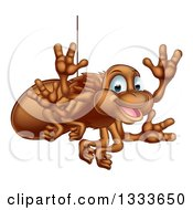 Clipart Of A Cartoon Happy Brown Spider Waving Royalty Free Vector Illustration by AtStockIllustration