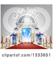 Clipart Of Welcoming Door Men At An Entry With A Red Carpet And Posts Under Change Text Royalty Free Vector Illustration by AtStockIllustration