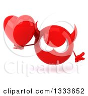 Clipart Of A 3d Red Devil Head Shrugging And Holding A Love Heart Royalty Free Illustration