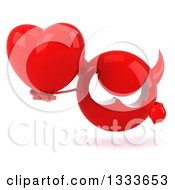 Clipart Of A 3d Red Devil Head Holding And Pointing To A Love Heart Royalty Free Illustration