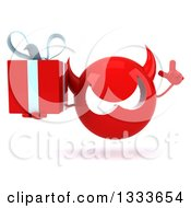 Clipart Of A 3d Red Devil Head Holding Up A Finger And A Gift Royalty Free Illustration