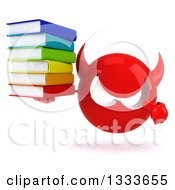 Clipart Of A 3d Red Devil Head Holding And Pointing To A Stack Of Books Royalty Free Illustration