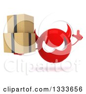 Clipart Of A 3d Red Devil Head Holding Up A Finger And Boxes Royalty Free Illustration