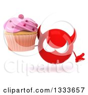 Clipart Of A 3d Red Devil Head Shrugging And Holding A Pink Frosted Cupcake Royalty Free Illustration