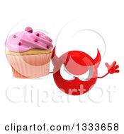 Clipart Of A 3d Red Devil Head Jumping And Holding A Pink Frosted Cupcake Royalty Free Illustration
