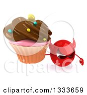 Clipart Of A 3d Red Devil Head Holding Up A Chocolate Frosted Cupcake Royalty Free Illustration