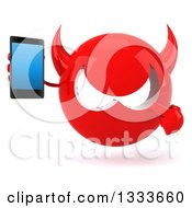 Clipart Of A 3d Red Devil Head Holding And Pointing To A Smart Cell Phone Royalty Free Illustration