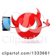 Clipart Of A 3d Red Devil Head Holding Up A Finger And A Smart Cell Phone Royalty Free Illustration