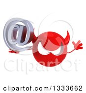 Clipart Of A 3d Red Devil Head Jumping And Holding An Email Arobase At Symbol Royalty Free Illustration