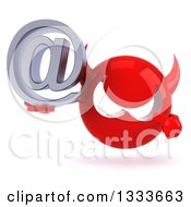 Clipart Of A 3d Red Devil Head Holding And Pointing To An Email Arobase At Symbol Royalty Free Illustration