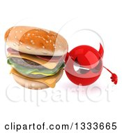 Clipart Of A 3d Red Devil Head Holding Up A Double Cheeseburger Royalty Free Illustration